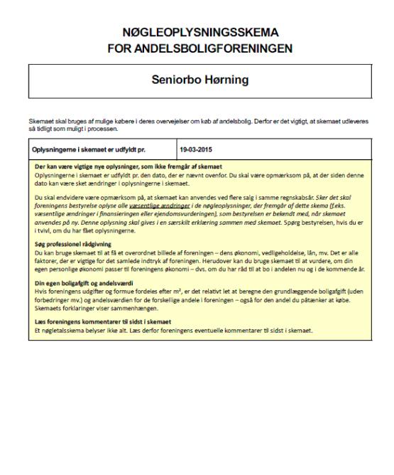 nøgleoplysningsskema for andelsboligforeningen